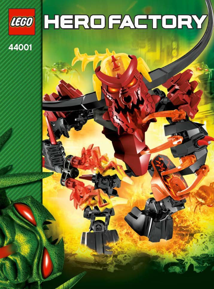 """Pyrox, manufactured as part of LEGO's Hero Factory theme in 2013, is a """"battle-ready fire minotaur"""" controlled by an evil brain. Sets such as this one, according to a recent University of Canterbury study, are more frequent now than they were in the 1970s."""